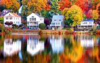 Fall image of homes in Boston's Brighton neighborhood.
